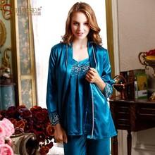 2015 Silk Pyjamas Women Pajamas for Women Spaghetti Strap Pajamas Women Sleeping Dress Gown Silk Sleepwear Pijamas Three-piece(China (Mainland))