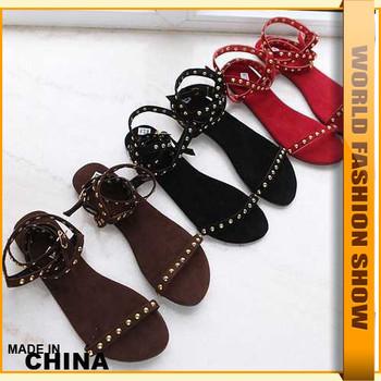 Fashion Big Size 34-43 Vintage Rivets Flat heel Sandals Dress Brand New Designer Red Black Casual Shoes JSA527