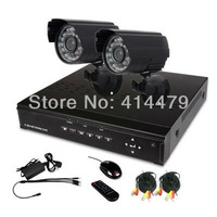 Wholesale Home DIY CCTV Security System w 4CH Full D1 CCTV DVR 2pcs Day Night Outdoor Surveillanc Video Camera