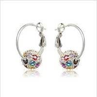 free shipping 494 Korean jewelry crystal earrings flash rolling circle earrings wholesale