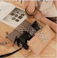 Free shipping 2014 Simple Fashion PU Leather Handbag Rivet Lady Clutch Purse Wallet Evening Bag