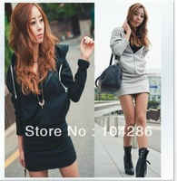 2013 New Style women's angel wing printing mini dress hoodie sport suit women's casual outwear one-piece dress free size