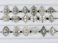 30% Off! Wholesale lots 100 Pcs Mix style Elegant Alloy Rings Vintage Rings for women Free SHipping