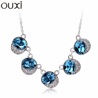 NLA052 Made with Genuine Swarovski Elements Crystal Five Queens Pendant Necklace Thick White Gold Plated Free Shipping