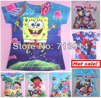 Hot sale cartoon masha bear DORA, spongebob t shirts for girls kids t-shirt boy baby clothing Children tshirt wholesale K2006