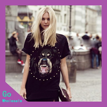 2013 New Arrival Summer Women Fashion T Shirt  Loose Short Dog Head Print T-Shirt Cotton Rhinestone Wholesale Free Shipping