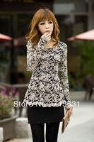 2014 Fashion Casual Women's Hollow Out Lace Slim Long-Sleeve T-shirt Loose Plus Size Basic Shirt, black, beige+black S-XXXL