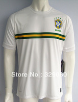 2013-2014 Brazil white stripe uniforms soccer kit, Brasil football training jersey