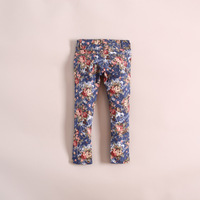 new free shipping, fashion flower girl denim pants, girls jeans, girls trousers