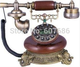 Retro Resin Metal Elephant Desk Corded Phone Telephone Antique Style Home Table Supplies Decoration Gifts EMS Free Shipping