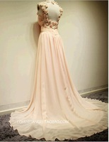 2014 sexiest women's fashion PROM dresses keyhole round collar/petals pinkprom dress small train dress