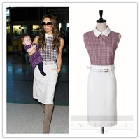 Free Shipping 2014 New Summer  Women Victoria  Fashion -Sleeve Sleeveless Dresses, Brand Ladies Plaid Patchwork Dress S M L XL
