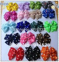 100pcs/lot 2014 dot hair bows ,clip in hair extensions,ribbon hair bows