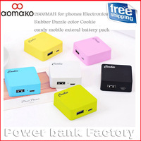 5PCS/lot  ! HK/SG/CPAM Shippingfree 2800MAH for phones Electronics Rubber Dazzle color Cookie candy mobile exteral battery pack