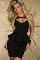Free shipping + Lowest price New Sexy Hollow-out Chest Peplum Dress (white/Black) LC2844