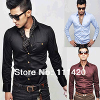 Fashion New Korean Style Men Casual Slim Fit Shirt Long Sleeve Pure Color Shirts Sky Blue Black Wine Red SS13053057