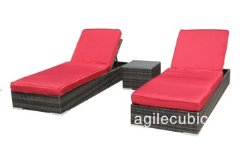 FREE SHIPPING Luxury Outdoor Wicker Lounge Bed [RED]