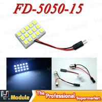 HK post free! Dome Light 15 SMD 5050 LED T10 Festoon Panel Light Car Interior Reading Lamp Bulb White 12V 10pcs/lot #YNL10