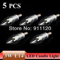 5pcs/lot Super Bright 3W LED Candle Light 5630 SMD 6 LED Bulb Lamp E14 Warm White/Cool White 85-240V Free Shipping