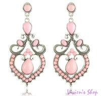 Wholesale 5pairs/lot Free shipping Bohemian Style Earrings Vintage Flower Heart Earrings E025