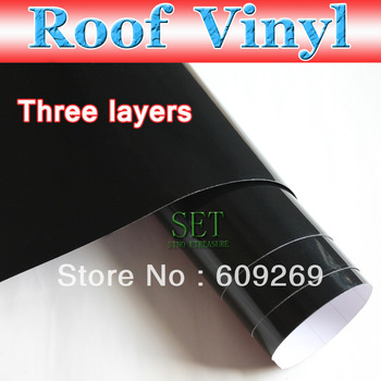 Gloss Black Car Roof Wrap 1.35*30M Car Skylight Moulding Vinyl car Sticker / Film Overlays Air Free Bubble