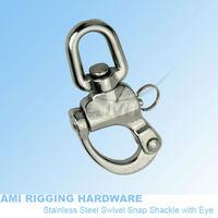 70mm, Snap Shackle swivel eye, stainless steel 316, AISI 316, marine hardware, boat hardware, rigging hardware