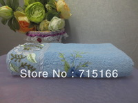 Free shipping,100% cotton good quatity embroidered bath towel
