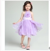 Retail 2014 New Children Girl Dress Halter Backless Stages Petal Princess Wedding Dress Girl Tank Big Flower Dress