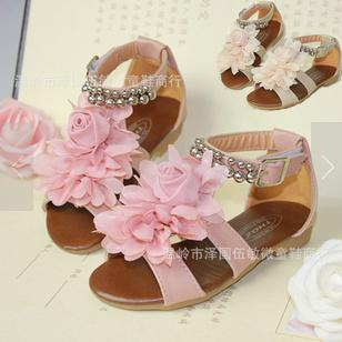 2013 child girls summer rommer flower petals gladiator girls  princess shoes sandals