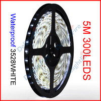 ( 20 reel/lot ) 5M/Reel 12V 3528 White Color SMD Waterproof Flexible LED Strip Lights 300 LEDs 60 LEDs/M Wholesale