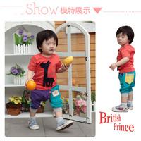 1set,Retain!2013New,Baby Boys Clothing Sets,short Shirts+harem Pant 2Pcs Set,Cute Giraffe model,Boys Summer Suit in 2color.