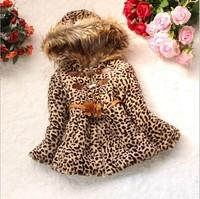 Retail 1 Pc New 2014 Children Leopard Fur Outerwear Girls Winter Hooded With Belt Padded Coat Kids Jackets & Coats CC1538