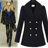 FREE SHIPPING 2014 new women's winter coat with shoulder board elegant women warm wool coats with wide lapel black gray  C031
