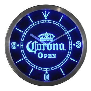 nc0109 OPEN Corona Crown Beer Pub Bar Neon Sign LED Wall Clock