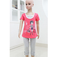 Free Shipping! Summer 2014 girl clothing set short sleeve t shirts top and girls legging pants  size 4-6-8-10-12-14  0416K2