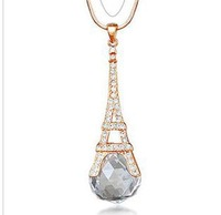 2013 New Fashion European Popular Austrian Crystal Decorated Eiffel Tower Shaped Pendant Women Ladies Sweater Costume Necklace