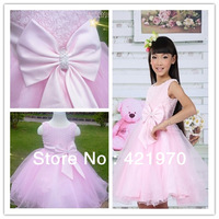 Free Shipping 1pcs girls pink dress Baby Dresses Girls Bow Formal dress Size:90 100 110