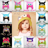 26color Best price - Handmade Knitted Crochet Baby Hat owl hat with ear flap Free shipping