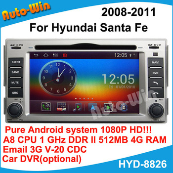Car DVD GPS for Hyundai Santa fe 2008-2011 1080p HD Pure Android  A8 chip1G CPU 512 DDR DSP sound-effects 7 parts digital EQ