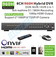 8 channel DVR stand alone video recorder H.264 HDMI Output Full D1 960h Real time Recording Hybrid dvr NVR onvif 1080p output