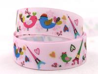 "Free Shipping 7/8"" 22mm grosgrain ribbon love birds and towel printed ribbon DIY hair accessory 50yards/roll XZD-908"