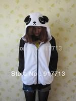 Wow!!!  Free Shipping!  Japan Cute Costume China Panda Ears Face Tail Zip Panda Hoodie Hoody Sweatshirt Costume,S M L XL