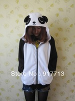 Wow!!!  Free Shipping!  Japan Cute Costume China Panda Ears Face Tail Zip Panda Hoodie Hoody Sweatshirt Costume,S M L XL