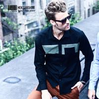viishow spring stitching men's shirts long-sleeved shirt male shirt black shirt shirt Men's Slim