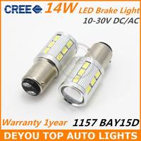 2pcs 14W 1157 BAY15D CREE LED car stop Tail Brake Signal Light Bulb lamp 2057 2357 12V 24V 1year warranty White Red