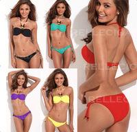 Sexy Women Bikini Push up Jungle Jewel Bandeau Padding Swimwear Swimsuit Bathing Suit