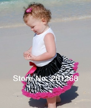 10pcs per lot New Baby Kids Girls Dancewear Tutu Pettiskirt  Girls Zebra Print Pettiskirt Princess Skirt Free shipping
