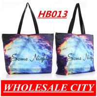 2013 HOT SALE! Galaxy Canvas Bag  Beautiful Printed Student Handbag LAPTOP Ipad Shoulder Bag Totes HB013