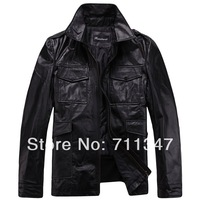 Outlets! Freeshipping! New Fashion men's genuine leather jacket Cowskin leather men clothes 1304B