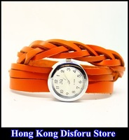 2013 Hot Fashion handmade braided leather bracelet watch women watch lady watch